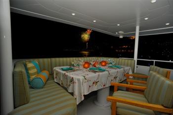 Fireworks on aft deck